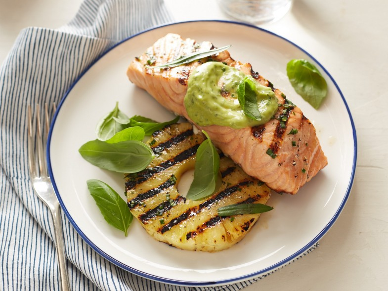 Giada De Laurentis's Grilled Salmon and Pineapple Avocado dressing as seen on Food Network