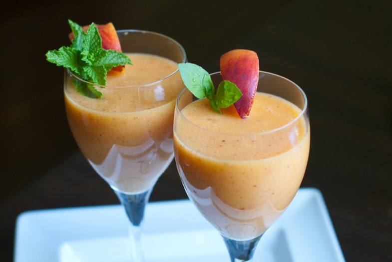 just-peachy-smoothie-with-a-peach-slice-and-mint-or-basil